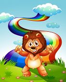 Illustration of a happy lion at the hilltop with a rainbow in the sky