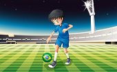 Illustration of a soccer player at the field with the flag of Brazil