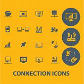 connection icons, buttons, symbols, buttons isolated set, vector on background
