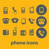 phone icons, buttons, symbols, buttons isolated set, vector on background