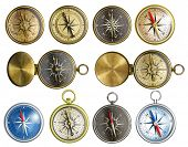 foto of nautical equipment  - ten nautical isolated compass set - JPG