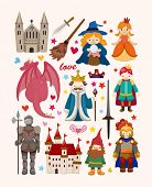 picture of woman dragon  - set of fairy tale element icons - JPG