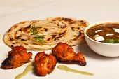 picture of paneer  - Paratha with paneer masala and chicken kebab - JPG