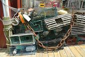 picture of lobster boat  - Lobster buoys and nets at the dock in Bar Harbor - JPG