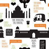 pic of rickshaw  - Seamless icons of India series Agra Taj Mahal illustration background pattern in vector - JPG