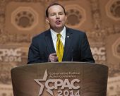 NATIONAL HARBOR, MD - MARCH 6, 2014: Senator Mike Lee (R-UT) speaks at the Conservative Political Ac