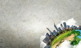 stock photo of solar battery  - Conceptual image of city landscape - JPG
