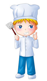 foto of chibi  - Cute cartoon illustration of a chef isolated on white - JPG