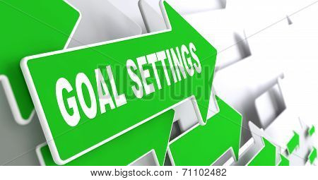 Goal Settings on Green Direction Arrow Sign.