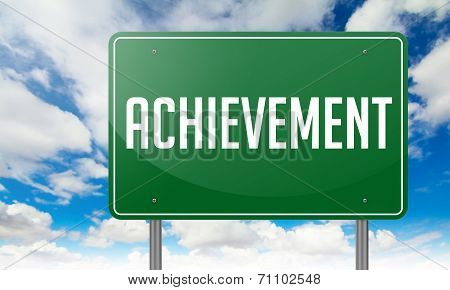 Achievement on Green Highway Signpost.