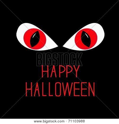 Evil Red Eyes In Dark Night. Happy Halloween Card.