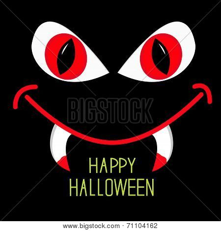 Evil Red Eyes And Mouth With Fangs In Dark Night. Happy Hallowee
