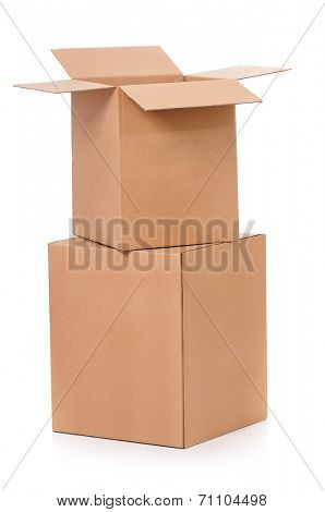 Simple brown carton boxes, isolated on white background