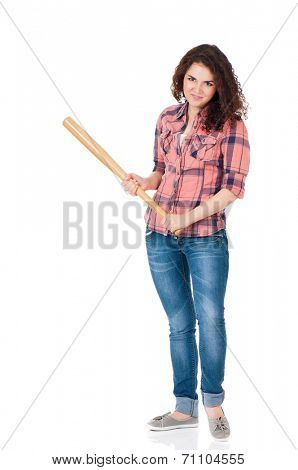 Anger young woman with wooden baseball bat, isolated on white background