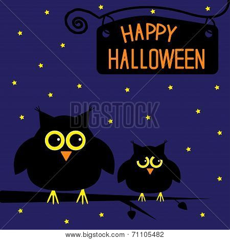 Happy Halloween  Cute Owls Card. Starry Night.