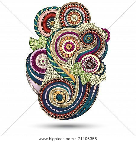 Henna Paisley Mehndi Floral Vector Illustration Design Element.