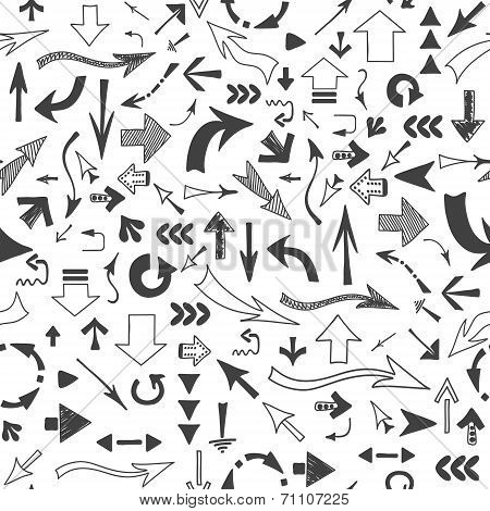 Seamless Vector Background Of Arrows Of Different Shapes And Sizes, Hand-drawn On A White Background