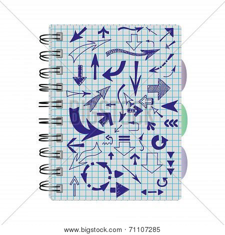 Arrows, Hand-drawn In A Notebook Into A Cell.
