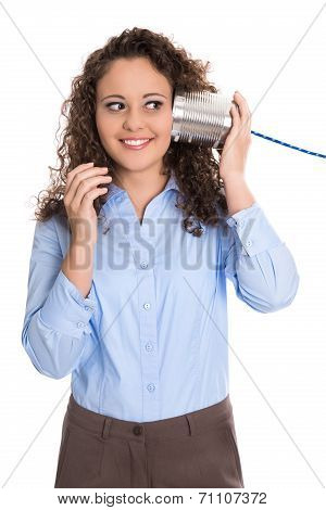 Pretty Isolated Young Woman On The Tin Can Phone: Communication Concept.