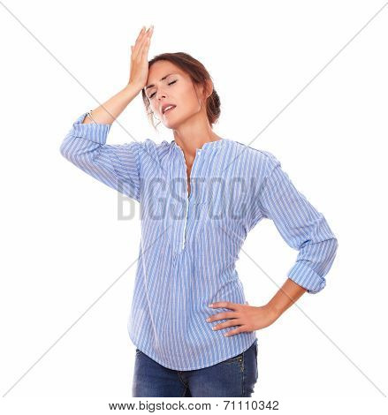 Charismatic Hispanic Lady With Headache Standing