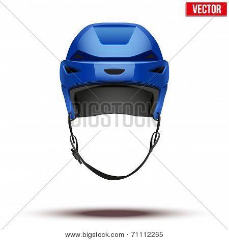 Classic blue Hockey Helmet isolated on Background. Vector.