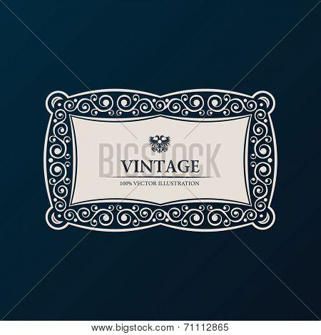 Label vector frame. Vintage banner decor ornament