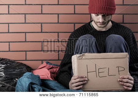 A Homeless Man Need Money