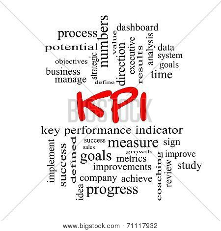 Kpi Word Cloud Concept In Red Caps