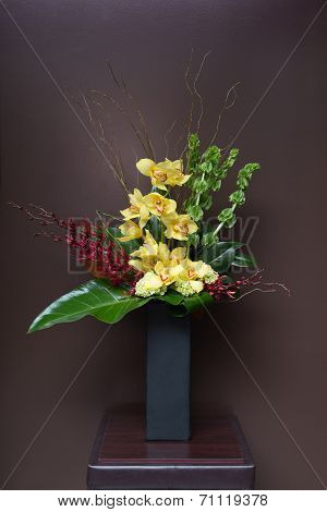 Floral Arangement With Calla, Cymbidium, Hydrangea, Orchids