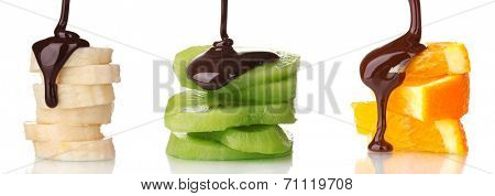 Fruit slices with chocolate isolated on white