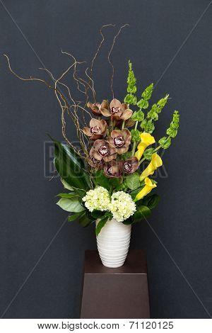 Floral Arangement With Calla, Cymbidium, Hydrangea, Orchids Moluccella