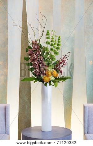 Floral Arangement With Cymbidium, Hydrangea, Orchids, Moluccella