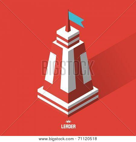 Leader concept. Tower. 3d vector illustration.