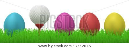 Golfball Between Easter Eggs In Grass