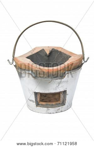The Charcoal Stove Of Thai Style Isolated On White Background.