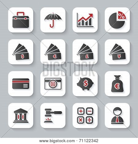 Set Of Flat Modern Bankig Web Icons