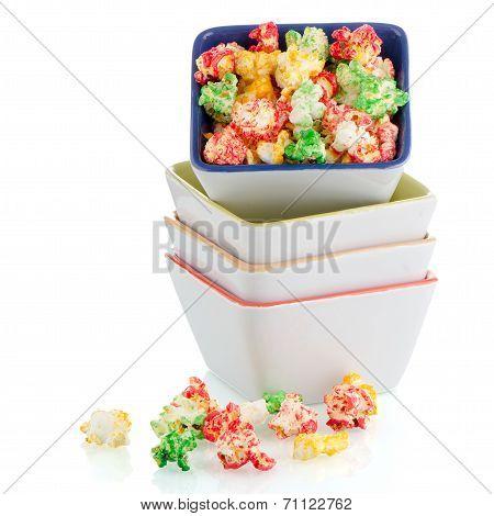 Pile Of Ceramic Bowls Of Popcorn