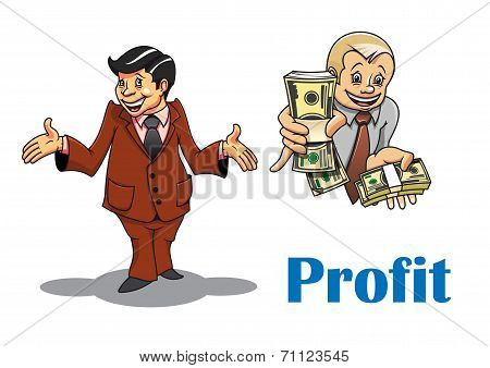 Cartoon businessman and financial expert characters