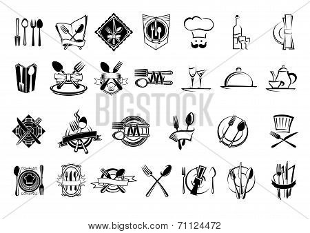 Food, restaurant and silverware icons set
