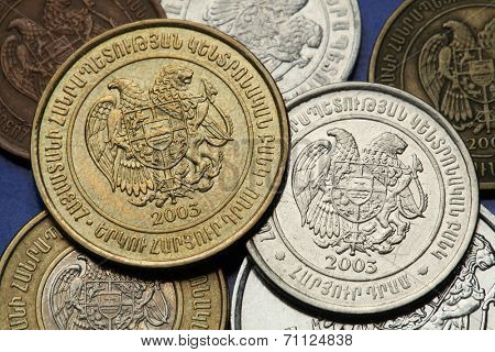Coins of Armenia. Armenian national coat of arms depicted in Armenian dram coins.