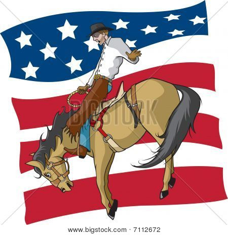 Bronc rider with flag