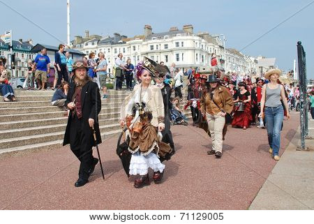ST. LEONARDS-ON-SEA, ENGLAND - JULY 12, 2014: The Section 5 drummers perform during the parade along the seafront at the annual St.Leonards Festival. The community event was first held in 2006.