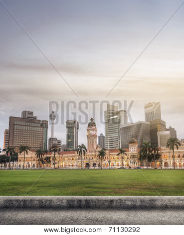 Malaysia city skyline with famous buildings, towers and skyscraper in Kuala Lumpur, Asia.