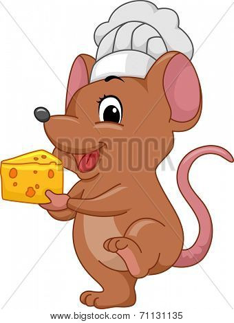 Illustration of a Mouse Wearing a Toque Carrying a Slice of Cheese
