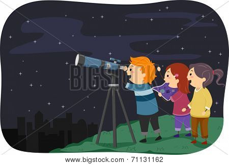 Illustration Featuring Kids Stargazing