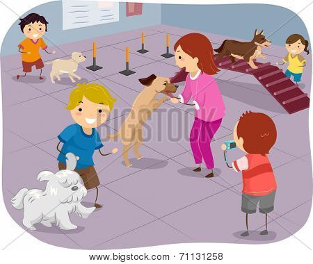 Illustration Featuring a Group of Children Training Their Dogs to Perform Agiliy Tests