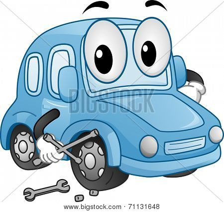 Mascot Illustration Featuring a Car Holding a Wrench