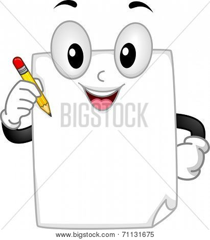 Mascot Illustration Featuring a Piece of Paper Holding a Pencil