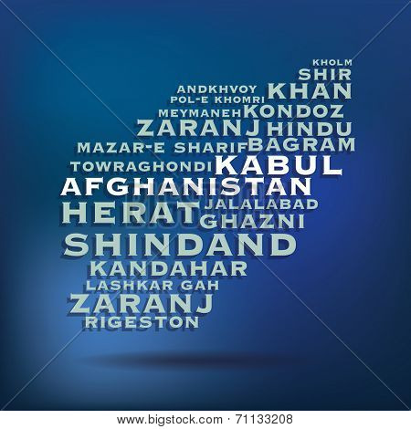 Afghanistan map made with name of cities - vector illustration