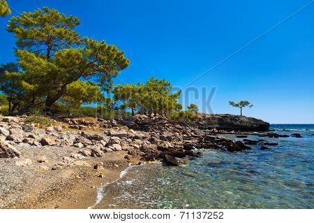 Beach At Phaselis In Antalya, Turkey